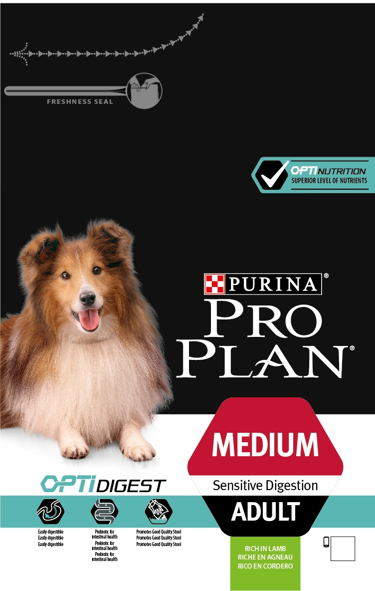 PURINA® PRO PLAN® Medium Adult Sensitive Digestion ar OPTIDIGEST® (sausā barība ar jēra gaļu)